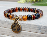 earthy nature bracelet with agate and tree charm