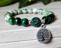 tree of life bracelet with green beads