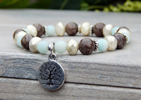 tree jewelry yoga bracelet blue brown gemstone beads