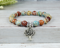 jasper gemstone bracelet with tree of life charm