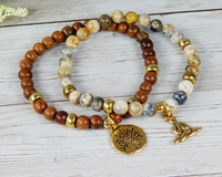 beaded gemstone and wood yoga bracelets