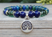 bracelet with tree charm blue and green
