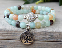 yoga bracelet with gemstones and tree charm