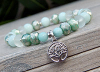 beaded gemstone bracelet tree of life