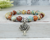blue jasper bracelet tree of life jewelry