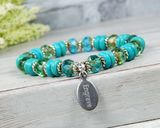 engraved charm bracelet turquoise beaded jewelry
