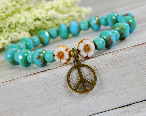 Turquoise Beaded Hippie Bracelet with Flower Beads and Peace Charm