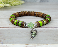 green bracelet with leaf charm gift for nature lover