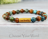 green and brown message bracelet inspirational gift