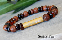 beaded engraved jewelry with wood and gemstone