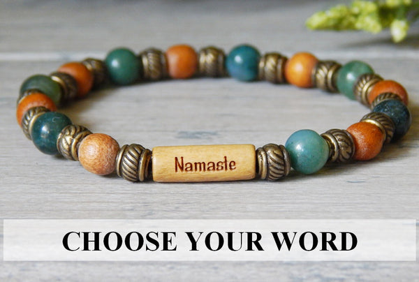 Woodland Gemstone and Wood Bracelet with Inspirational Message Bead