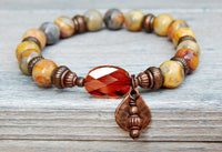 yellow sienna and copper beaded bracelet