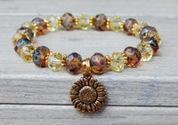 sunflower charm bracelet yellow crystal beads