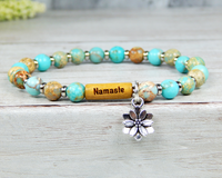 yogi gift with namaste word and lotus flower