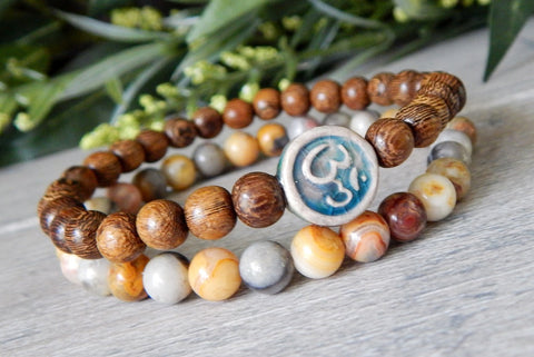 om bracelet wood and gemstone beaded jewelry