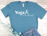 blue yoga t-shirt for yoga lovers