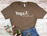brown yoga t-shirt for yoga lovers