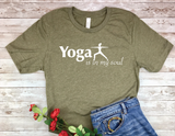 olive green yoga t-shirt for yoga lovers