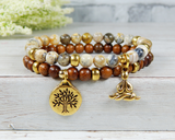 set of 2 stacked yoga bracelets yogi jewelry