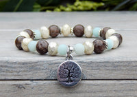 tree charm gemstone amazonite bracelet yoga nature jewelry