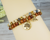 yogi jewelry yoga charm bracelet with tree of life charm