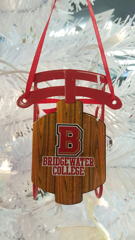 Bridgewater College Metal Sled Ornament