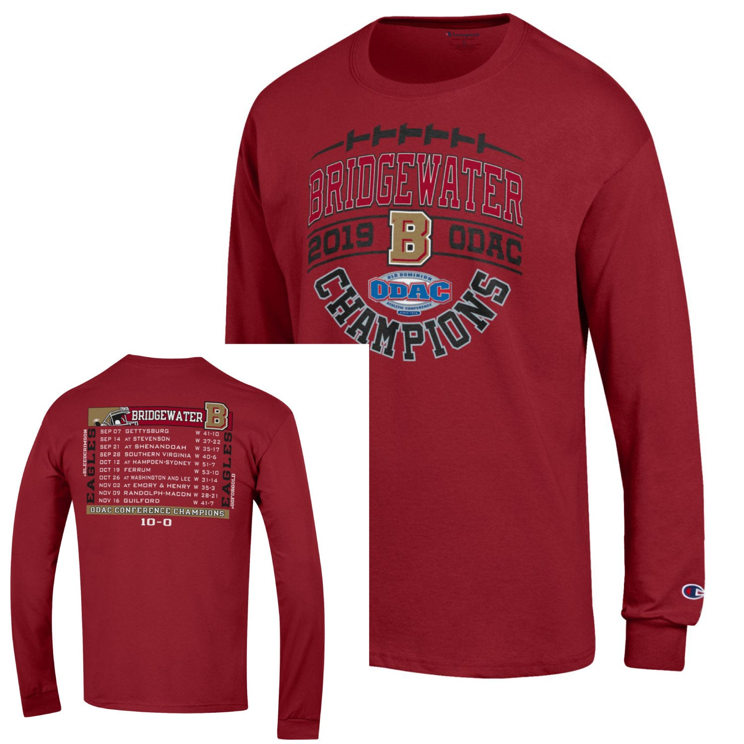 Bridgewater College Football ODAC Champion Crimson Long Sleeve Tee
