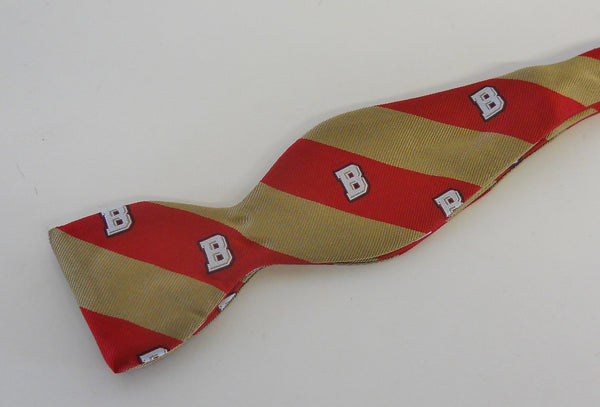 "Bridgewater Striped ""B"" Logo Bow Tie"