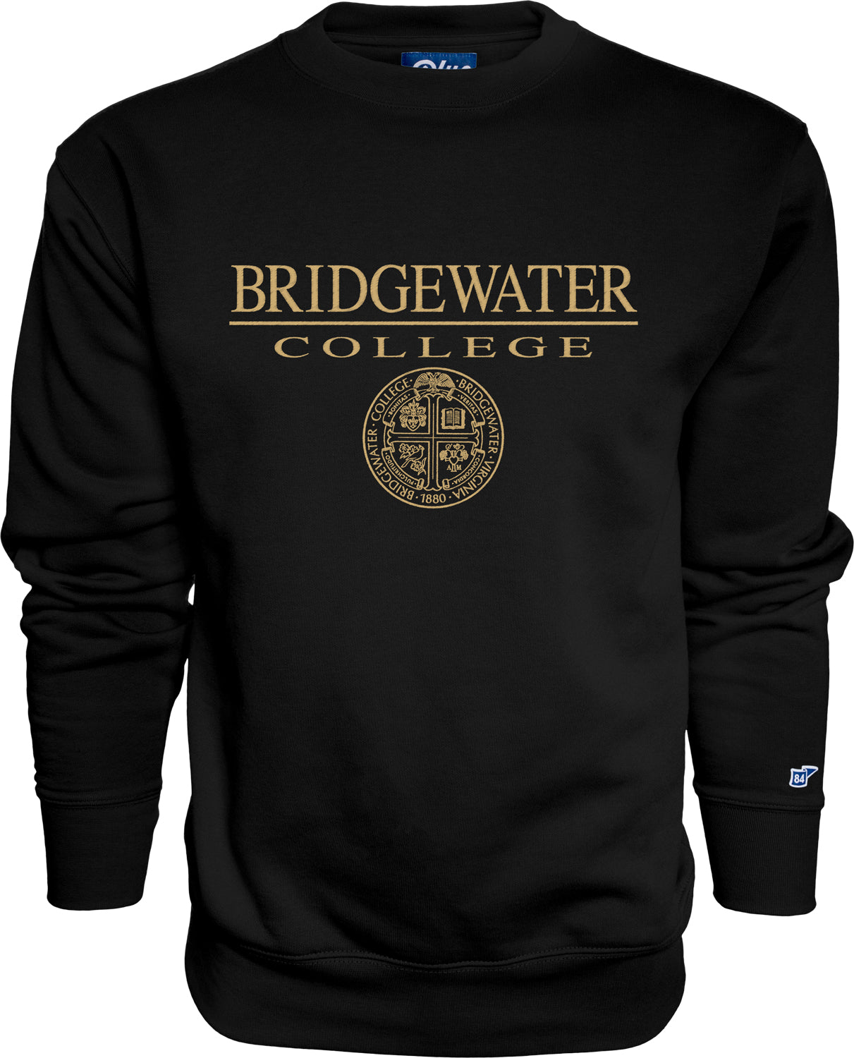 Blue 84 Black Crew with Gold Bridgewater College Presidential Seal