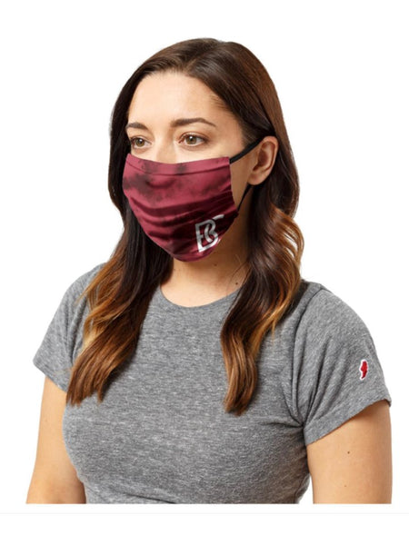 League Three Layer Face Covering w/ nose wire - Face Mask Crimson BC