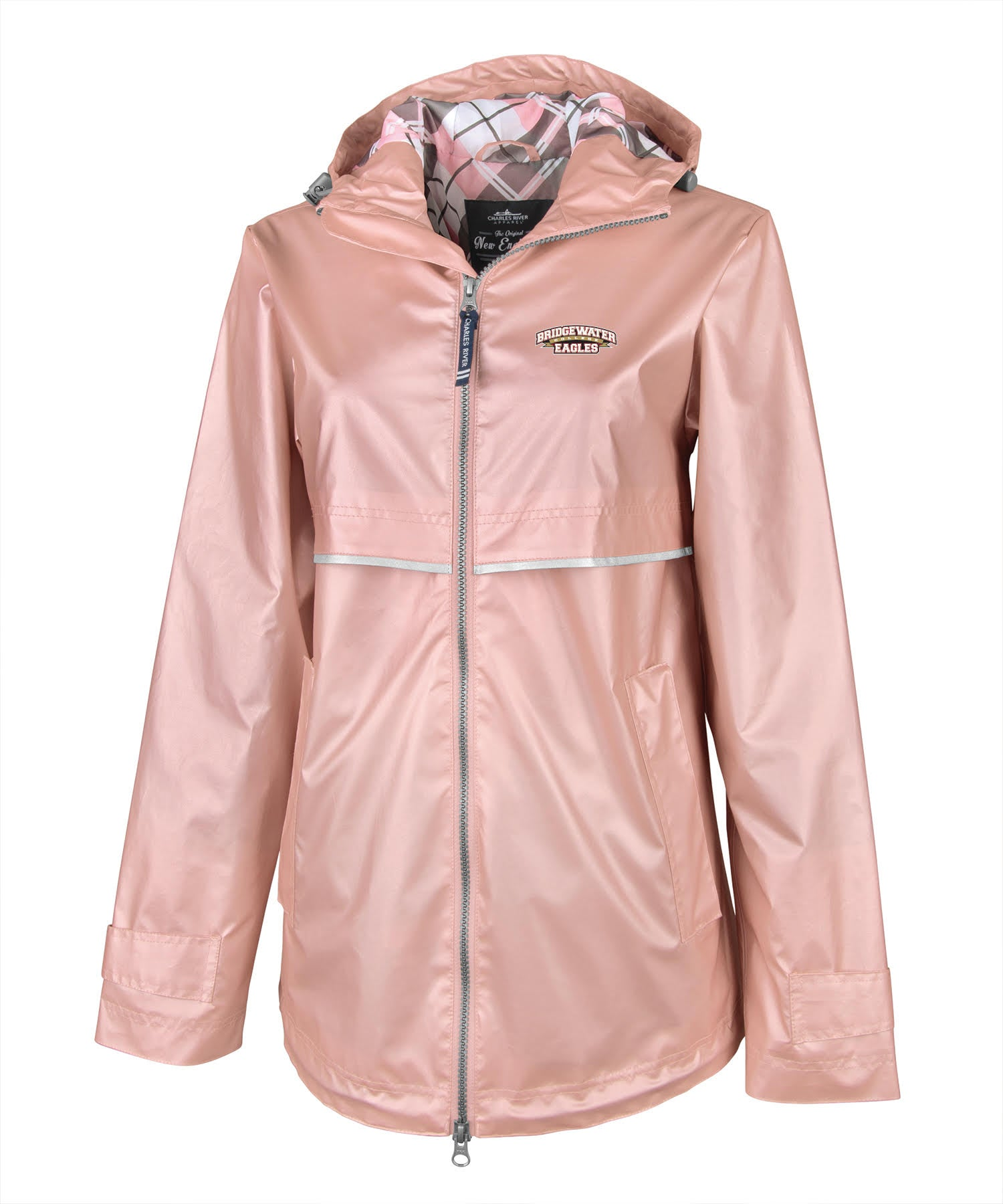 Bridgewater College Charles River Rose Gold/ Plaid Women's Rain Jacket