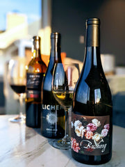 Image of the 3 wines in my first wine club shipment, all sourced from sustainable vineyards.
