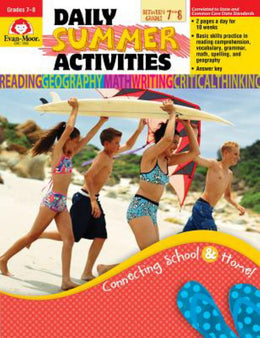 Daily Summer Activities, Moving from 7th to 8th Grade (Paperback)