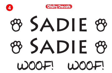 Your dog's name in this font