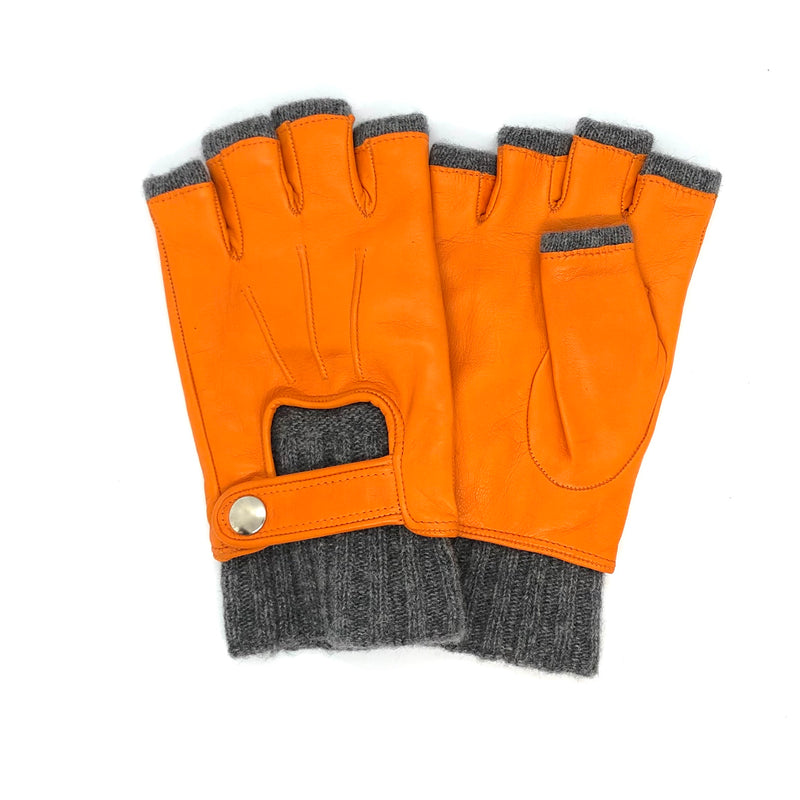 Orange Short fingers wool & leather gloves
