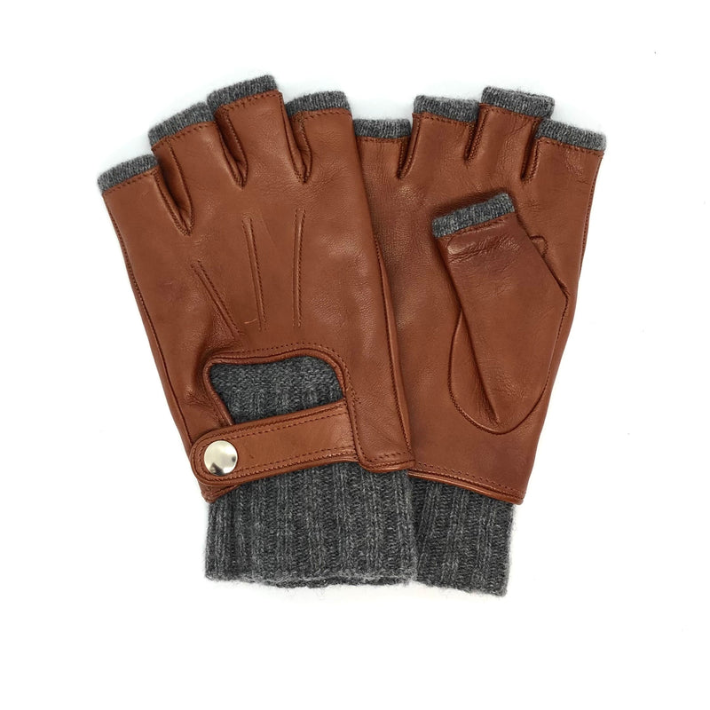 Light Brown Short fingers wool & leather gloves