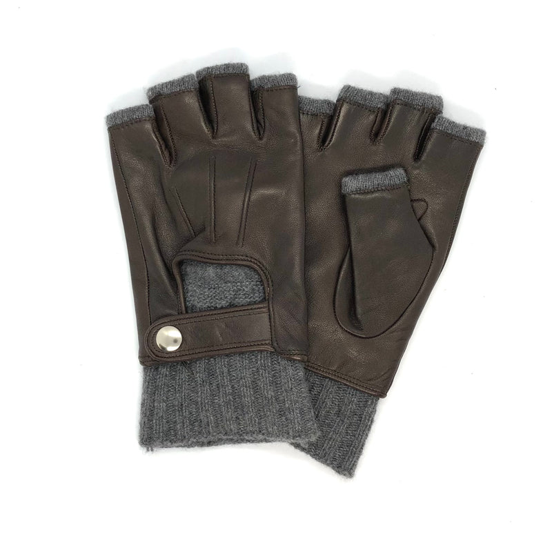 Brown Short fingers wool & leather gloves
