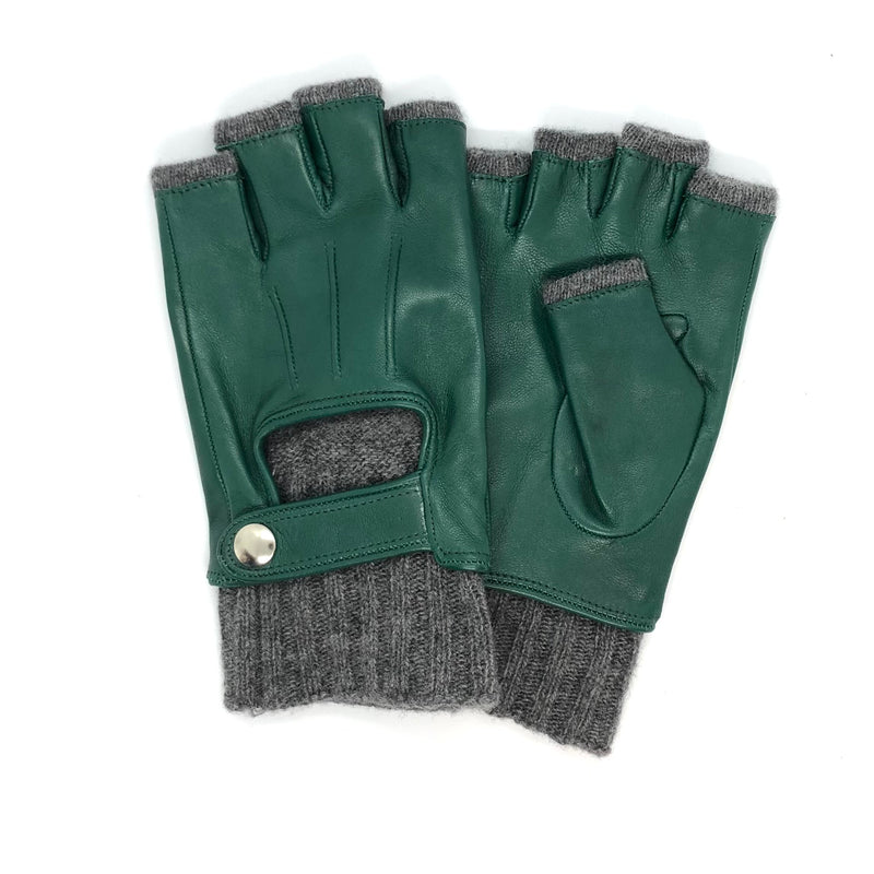 Green Short fingers wool & leather gloves