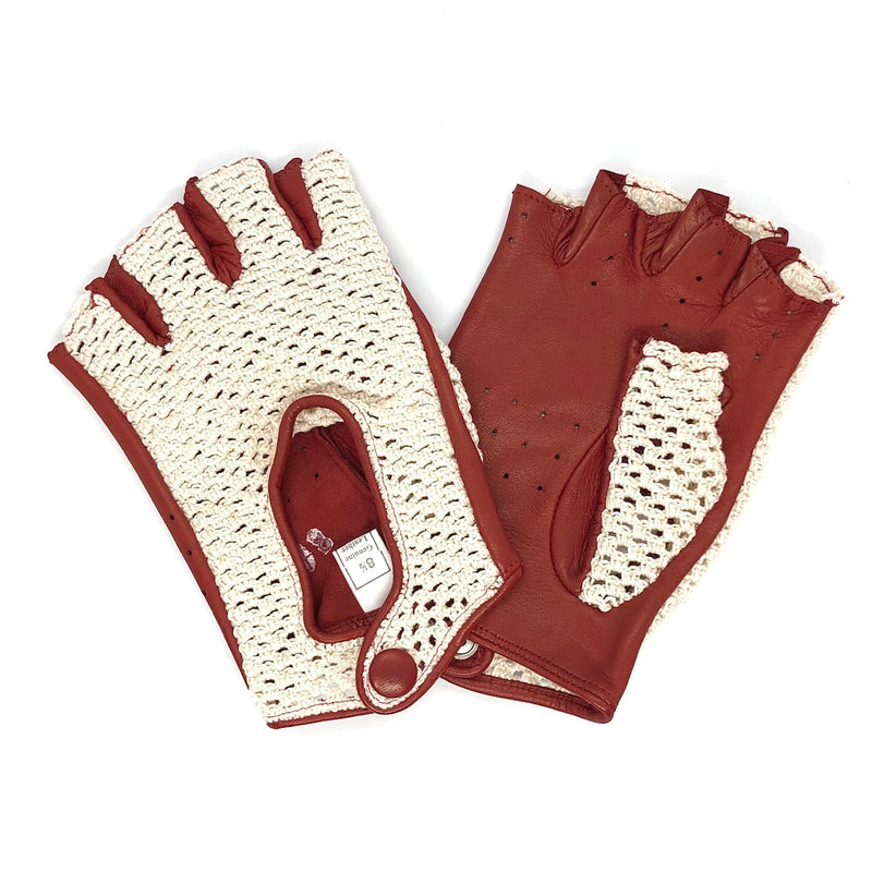 Burgundy Crocheted Short fingers leather gloves