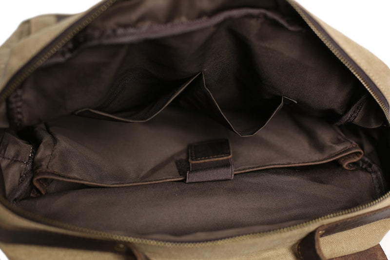 Leather & canvas laptop backpack