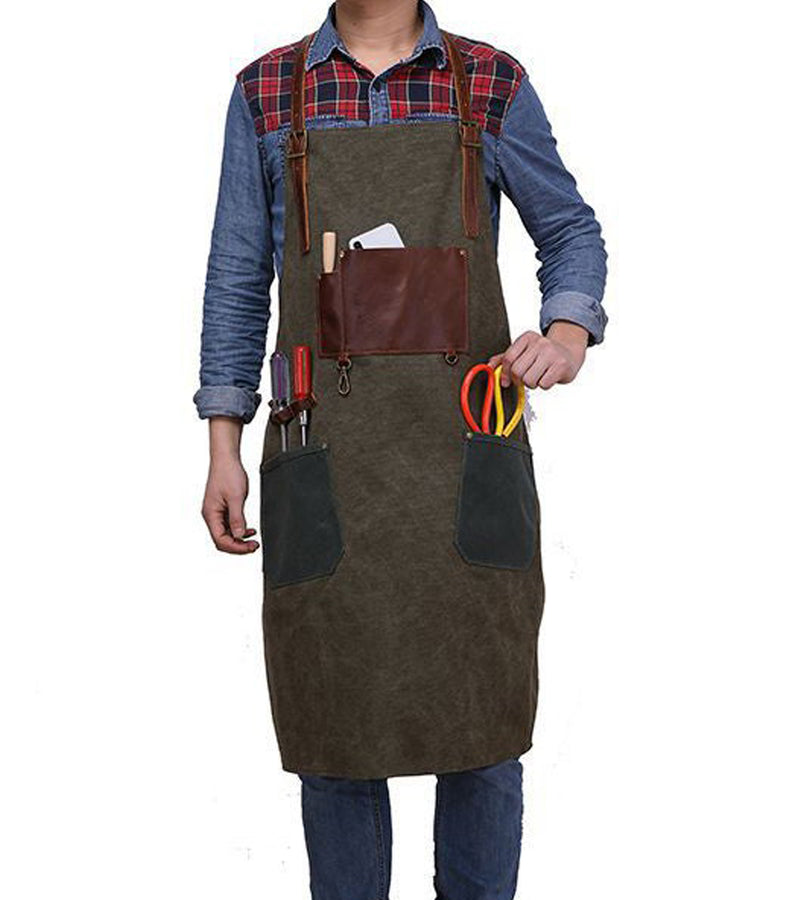 Waxed Canvas & leather apron