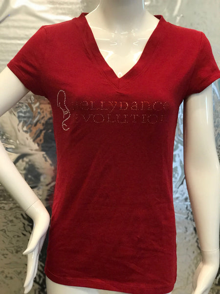 "Red ""BDE"" Jeweled T-Shirt"