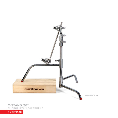 "Hollywood Pro 20"" C-Stand w/Sliding Leg, Low Profile, Includes Grip Head & Arm"