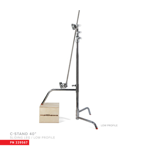 "Hollywood Pro 40"" C-Stand w/Sliding Leg, Low Profile Base, Includes Grip Head & Arm"