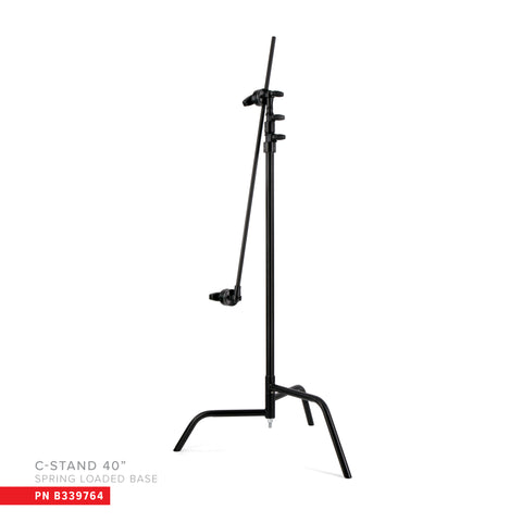 "40"" Double Riser Spring Loaded Folding C-Stand w/Grip Head & Arm"