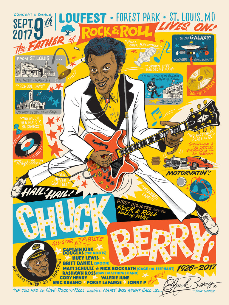 Hail! Hail! Chuck Berry! 2017 Signed Commemorative LouFest Poster