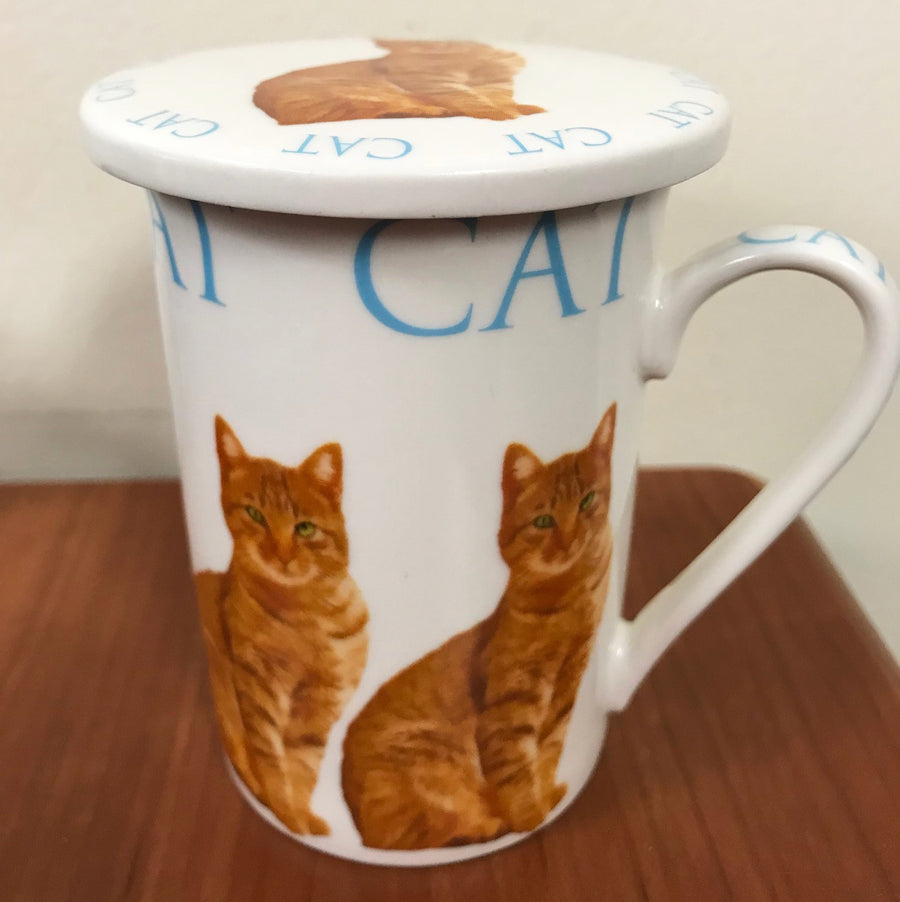 Porcelain Cat Mug and Coaster Set