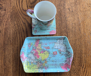 Map Mug, Coaster and Tray Set