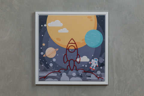 "Rocket Ship at Night Wall Decor 16"" x 16"" - Casa Febus - Home • Design"