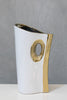 "12"" White/Gold Stand Vase - Pur Ceramic Collection"